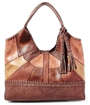 Steven by Steve Madden Merlot Whip-Stitched Patchwork Tote