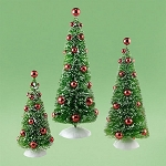 Snowbabies Trees With Red Ornaments Set Of 3 4031928