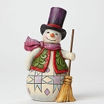 Pint Sized Snowman With Broom Figurine 4047773
