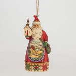 Santa With Church Scene Hanging Ornament 4047788