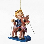 Skiing Rudolph and Hermey Ornament 4053076