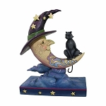 Moonlight Mischief Crescent Moon Witch with Black Cat 4058845