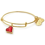 Red Heart of Strength Charm Bangle Shiny Gold