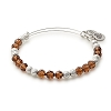 Earth Beaded Bangle with Swarovski Crystals Shiny Silver