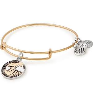 Hand in Hand Two Tone Charm Bangle Gold