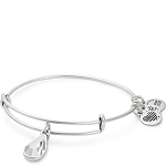 April Birth Month Charm Bangle With Swarovski Crystal Silver
