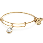 April Birth Month Charm Bangle With Swarovski Crystal Gold