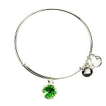 Crystal Birthstone Bangle August Peridot Shiny Silver