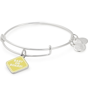 Baby on Board Charm Bangle Shiny Silver
