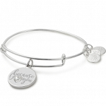 Because I Love You Charm Bangle With Swarovski Crystal Sivler