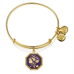 February Birth Flower Violet Charm Bangle Yellow Gold