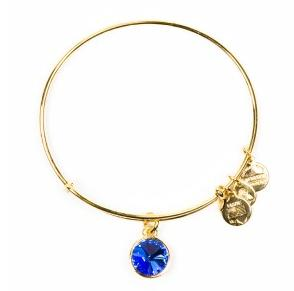 Crystal Birthstone Bangle September Sapphire Yellow Gold