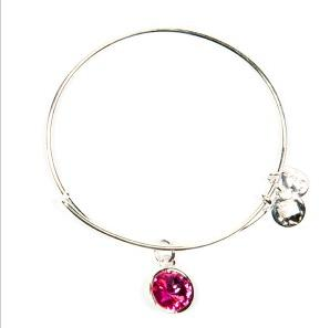 Crystal Birthstone Bangle October Rose Shiny Silver