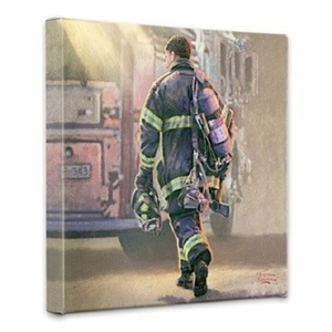 Selfless Service Fireman 14 x 14 Wrapped Canvas