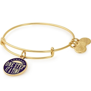 One Step at a Time Charm Bangle Shiny Gold