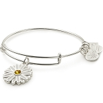 Daisy Charm Bangle Shiny Silver