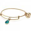 December Birth Month Charm Bangle With Swarovski Crystal Gold