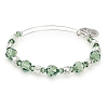 Evergreen Beaded Bangle with Swarovski Crystals Shiny Silver