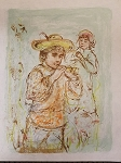 Edna Hibel Boy With Horn Lithograph 14 1/2