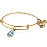 March Birth Month Charm Bangle With Swarovski Crystal Gold
