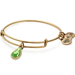 August Birth Month Charm Bangle With Swarovski Crystal Gold