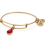 July Birth Month Charm Bangle With Swarovski Crystal Gold