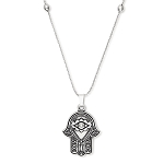 Hand Of Fatima Expandable Necklace Silver