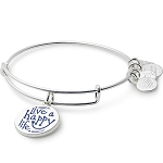 Live a Happy Life Bangle Shiny Silver