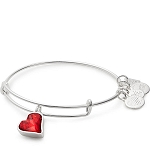 RED Heart of Strength Charm Bangle Shiny Silver