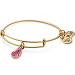 October Birth Month Charm Bangle With Swarovski Crystal Gold