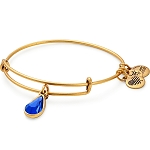 September Birth Month Charm Bangle With Swarovski Crystal Gold