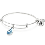 March Birth Month Charm Bangle With Swarovski Crystal Silver