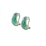 Turquoise Lattice Post Clip Earrings E3540-AT00