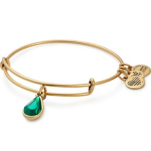 May Birth Month Charm Bangle With Swarovski Crystal Gold