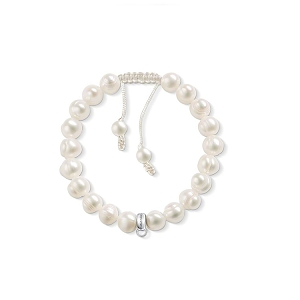 Pearl Beaded Charm Carrier Bracelet X0159-082-14