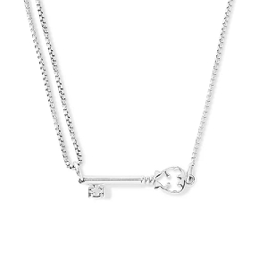 Skeleton Key Pull Chain Necklace Sterling Silver