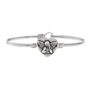 Cherub Angel Bangle Bracelet Silver 7.5