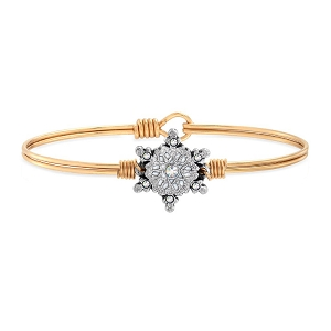 Sparkling Snowflake Bangle Bracelet Brass 7.0