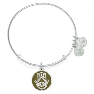 Hand of Fatima Color Infusion Charm Bangle Shiny Silver