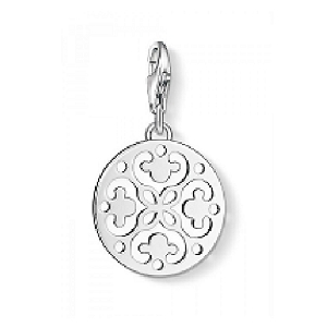Silver Ornament Disc Charm 1004-001-12