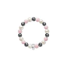 Pearl Rose Quartz and Hematite Bracelet X0188-581-7-M 16.5cm