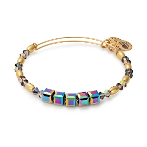 Mirror Swarovski Beaded Bangle Shiny Gold