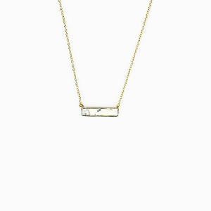 Bar Necklace Howlite Gold