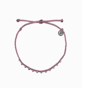 Anklet Silver Stitched Beaded Lavender