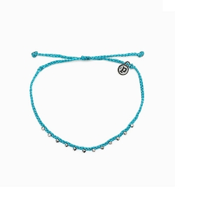 Anklet Silver Stitched Beaded Pacific Blue