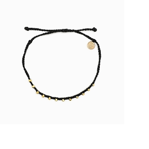 Anklet Gold Stitched Beaded Black