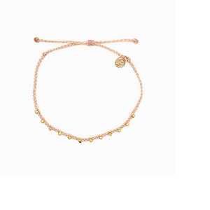 Anklet Gold Stitched Beaded Blush