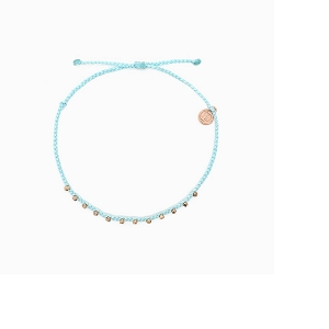 Anklet Rose Gold Stitched Beaded Ice Blue