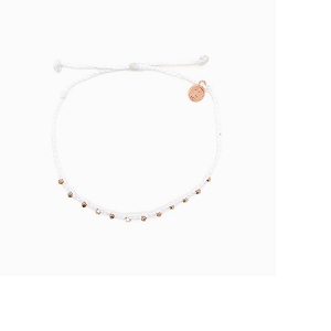 Anklet Rose Gold Stitched Beaded White