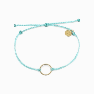Circle Charm Bracelet Mint Green Gold